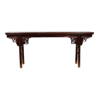 Chinese Ming Dynasty Style Elm Altar Console Table with Scrolled Spandrels For Sale