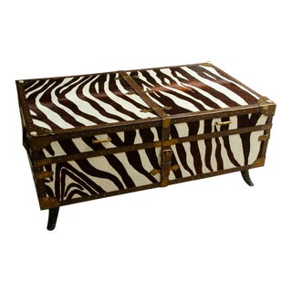 French Trunk/Cocktail Table Covered in Zebra For Sale