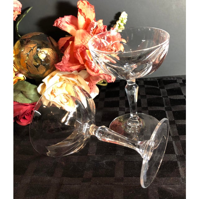 """Set of 4 Tall Champagne / Dessert Cup Cristal D'Arques Durrand """"Washington"""" Glasses For Sale - Image 9 of 11"""
