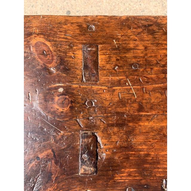 Wood 1920s Vintage Primitive Brown Pine Bench For Sale - Image 7 of 13