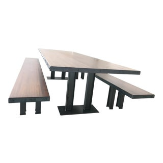 Modern Wood Table & Benches