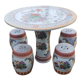 Asian Porcelain Table and Stools - Set of 4 For Sale