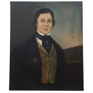 Early 19th Century American Handsome Young Man Portrait Oil Painting For Sale