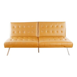 Abbyson Mid-Century Modern Style Leather Upholstered Sofa Bench For Sale