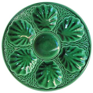 19th Century Victorian Green Majolica Oyster Plate Salins