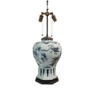 1670 Blue and White Dutch Delft Chinoiserie Baluster Vase Table Lamp For Sale