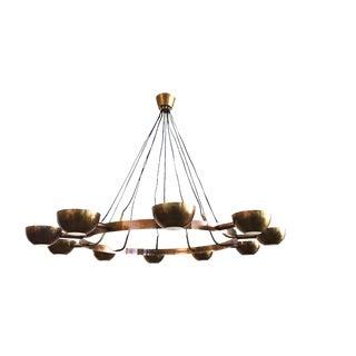 Large Brass Gino Sarfatti Style Chandelier For Sale