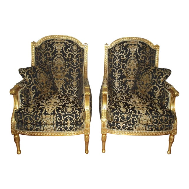 Late 20th Century Vintage Louis XVI Style Gilt Wood Bergeres - A Pair For Sale
