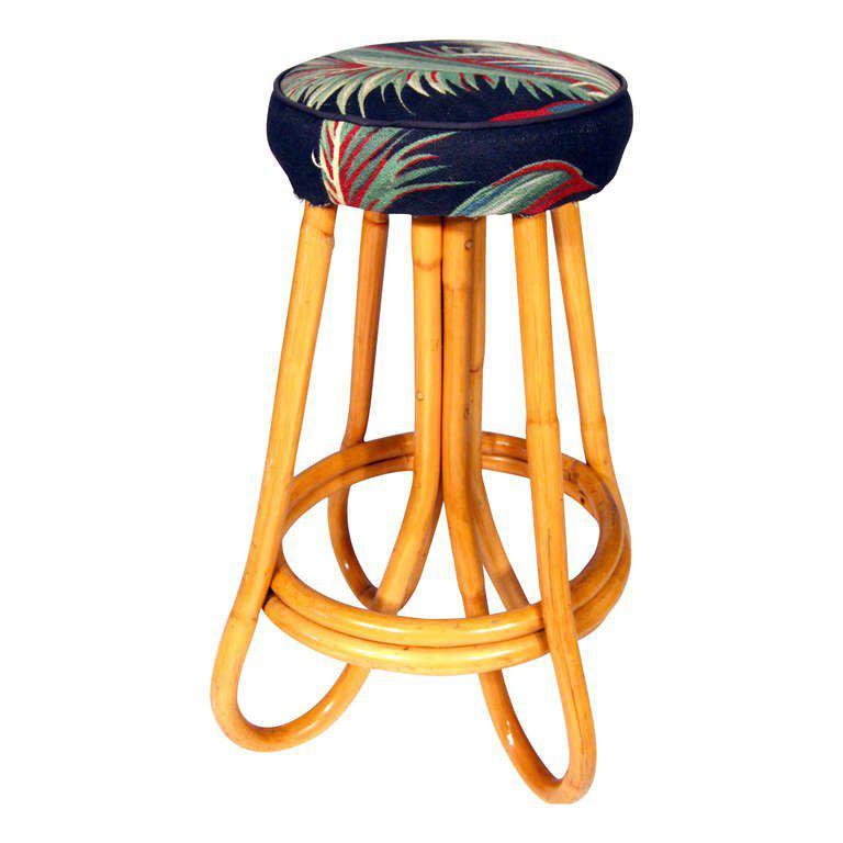 Restored Pole Bent Leg Rattan Bar Stool Set Of 4 Chairish