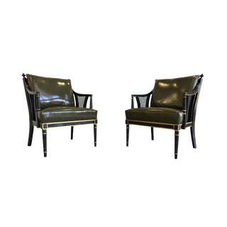 Napoleonic Revival Leather & Lacquered Wood Armchairs - a Pair