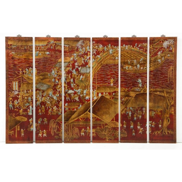 Series of Six Red Lacquered Chinoiserie Panels For Sale In New York - Image 6 of 11