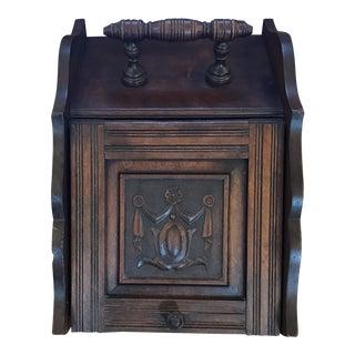Antique English Oak Scuttle Box/ Original Metal Liner and Shovel For Sale