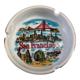 Vintage San Francisco Porcelain Gilt Ashtray Catchall For Sale