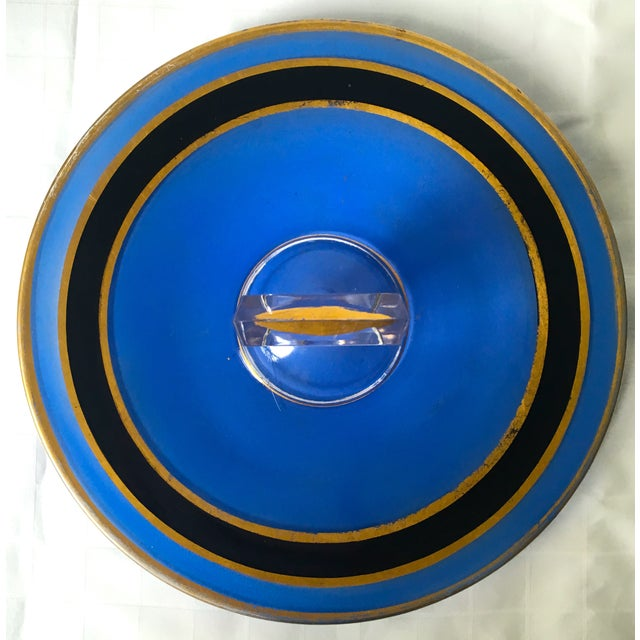 Mid-Century Blue Glass Handled H'ordeuvres Server - Image 4 of 4
