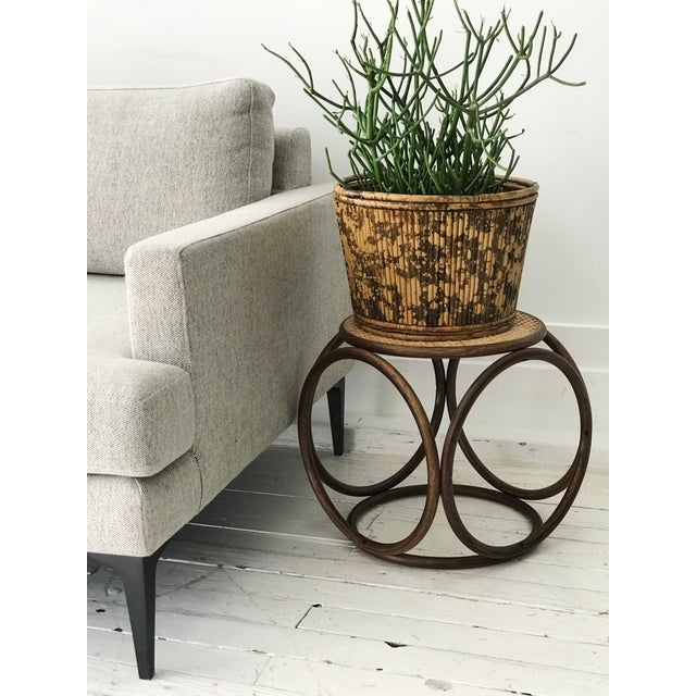 Wood 1960s Bentwood Rattan Footstool For Sale - Image 7 of 7