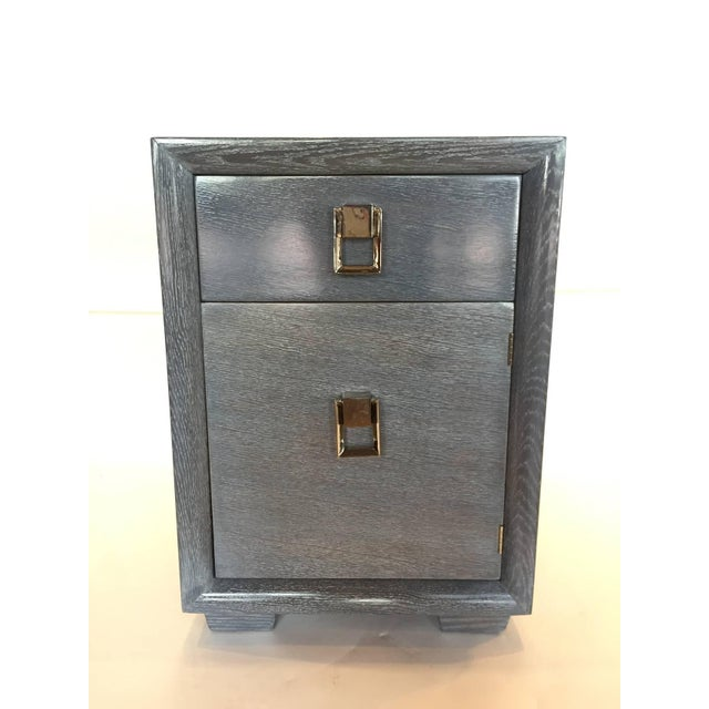 1940s Cerused Grey Oak Nightstand or Side Table - Image 3 of 5