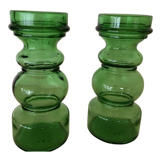 Mid-Century Italian Green Glass Vases - a Pair For Sale