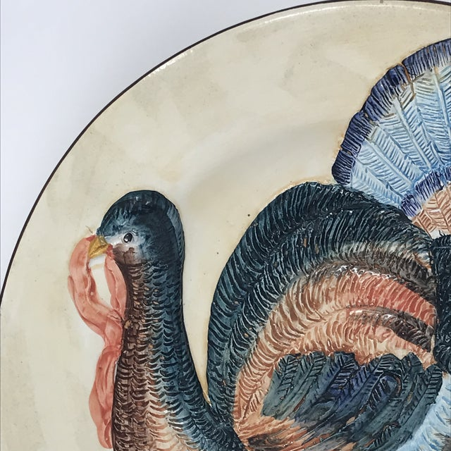 Thanksgiving Decor Spanish Traditional Hand Painted Majolica Turkey Concave Decorative Plate For Sale In Miami - Image 6 of 12