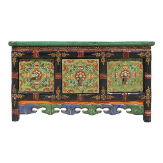Chinese Tibetan Distressed Red Green Pigment Drawers Coffee Table For Sale