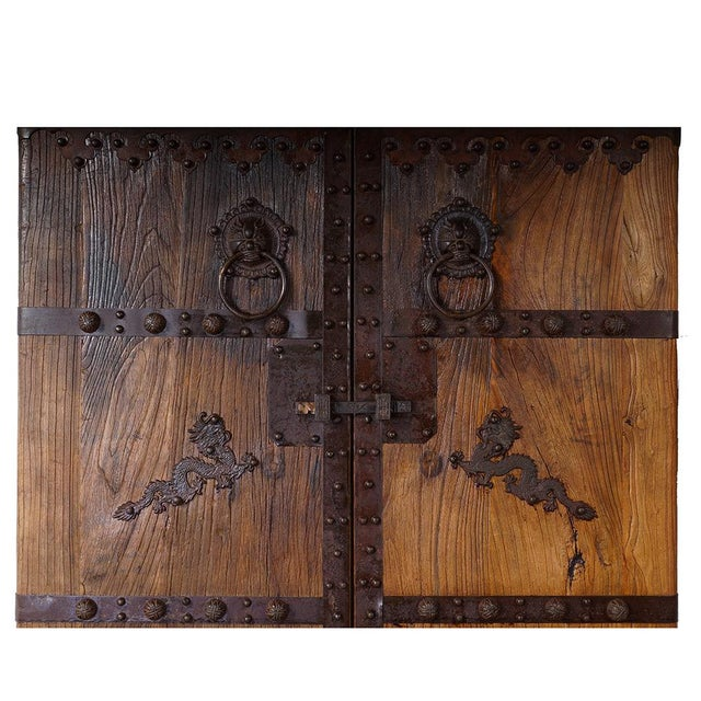 Late 19th Century Chinese Antique Massive Court Yard Door Panels-A Pair For Sale - Image 5 of 12