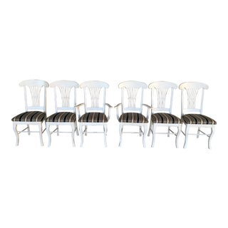 Bermax White French Country Wheat Back Dining Chairs- Set of 6 For Sale