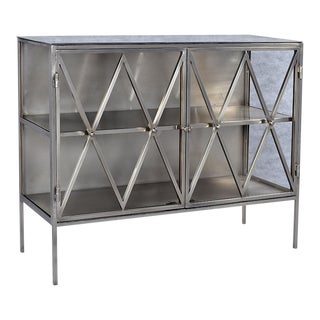 Nickel Finish Side Cabinet