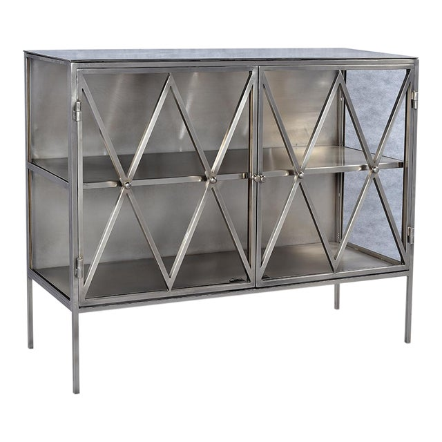 Nickel Finish Side Cabinet For Sale