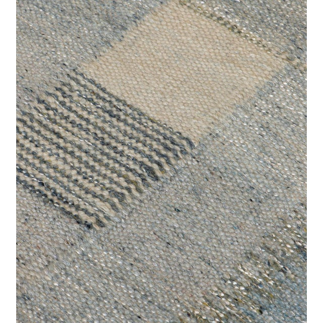 Hand-Woven Swedish Kilim Style Wool Rug For Sale In Los Angeles - Image 6 of 7