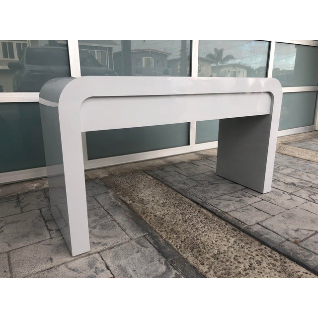 1980s 1980s Contemporary Gray Laminate Waterfall Desk For Sale - Image 5 of 10