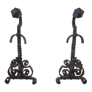 Monumental Handcrafted Andirons & Tools For Sale