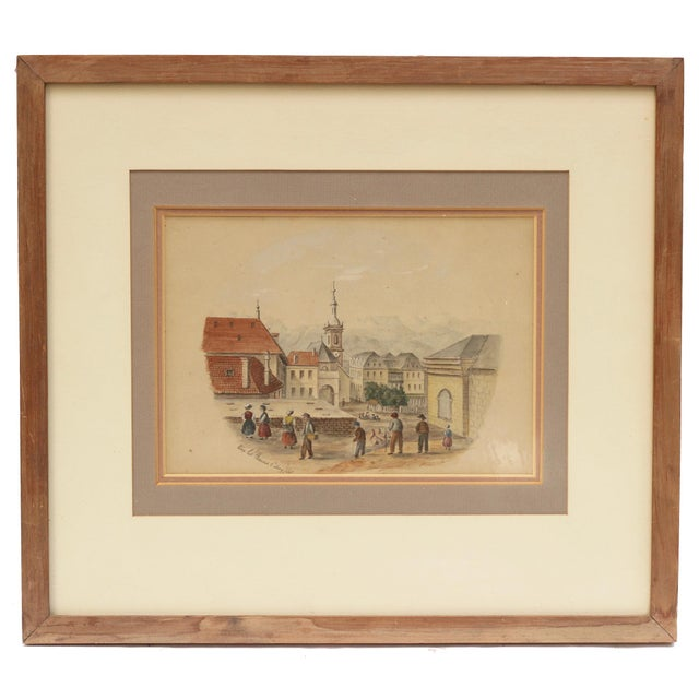 Beautiful vintage 19th century architectural watercolor of the spa town Aix-les-Bains in southeast France famous for its...