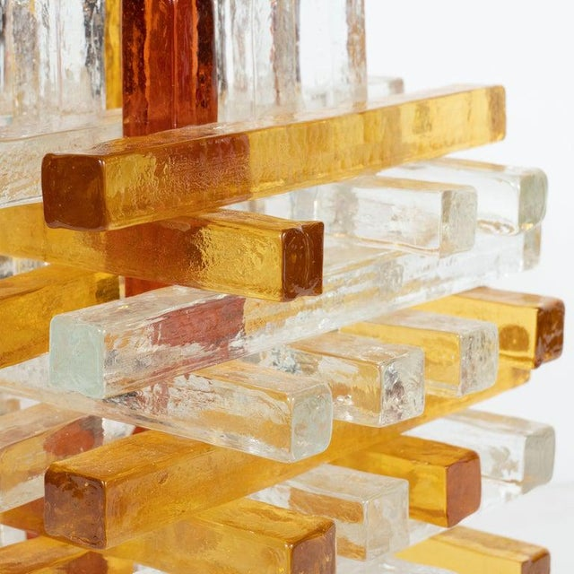 Glass Mid-Century Modern Cubist Veronese Amber Hued Glass Table Lamp by Poliarte For Sale - Image 7 of 13