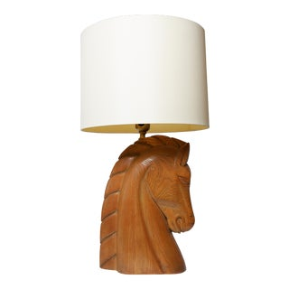 1940s Mid-Century Modern Wooden Horse Head Lamp For Sale