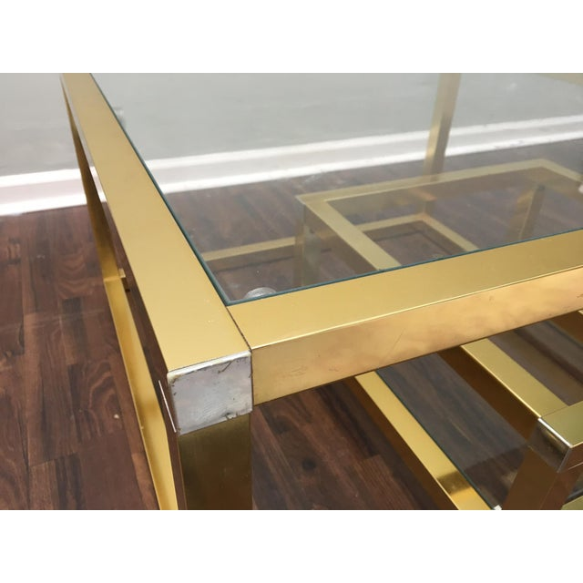 Cubist Brass Swivel Coffee Table with Wine Rack After Milo Baughman For Sale - Image 6 of 7