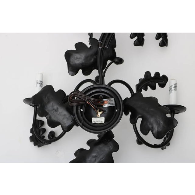 Pair of Five-Light Wall Sconces in Black with Acorn Leaf Motif - Image 8 of 9