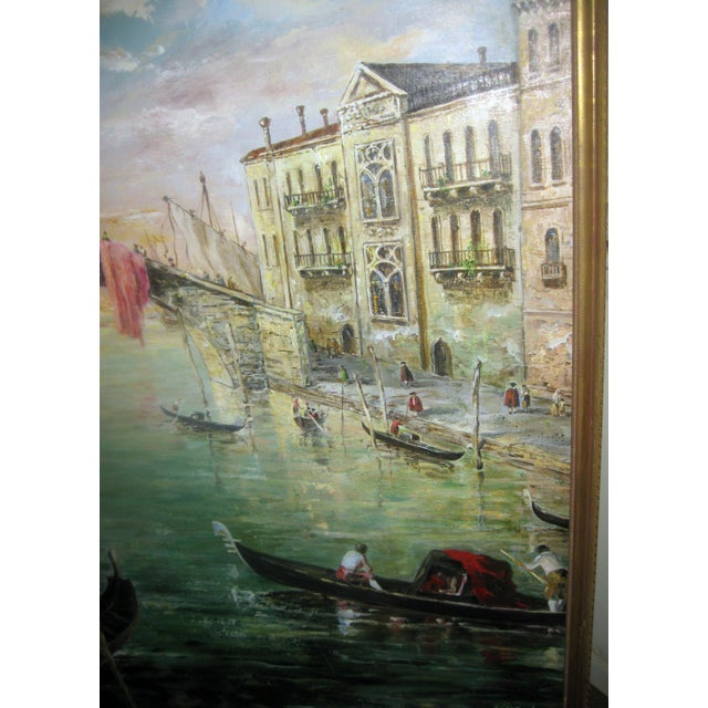 Canvas Late 20th Century Valerio Zerbo San Marco Piazza Large Oil Painting For Sale - Image 7 of 12