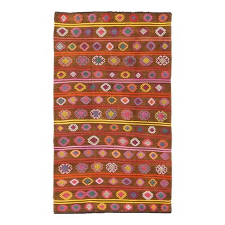 Large Vintage Kilim Rug With and Colorful Embroideries in Warm Brown For Sale