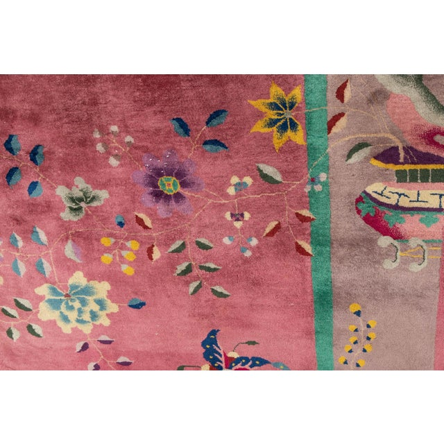 Early 20th Century Antique Art Deco Chinese Wool Rug For Sale - Image 4 of 11