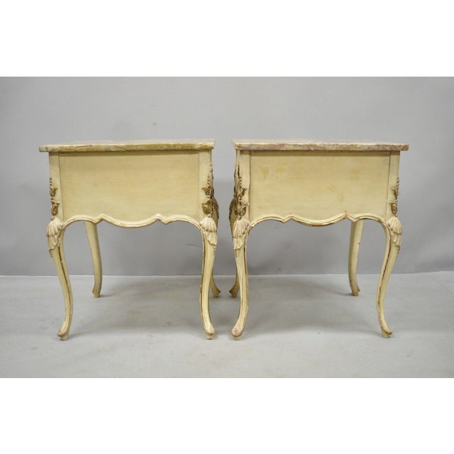 1950s French Louis XV Marble Top Nightstands - a Pair For Sale - Image 9 of 11
