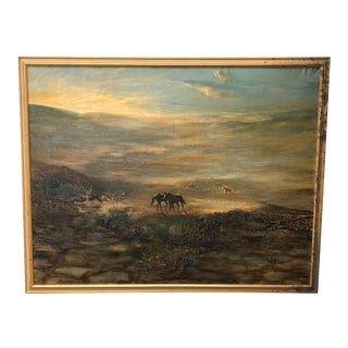 1970s Vintage Landscape with Horses Painting For Sale