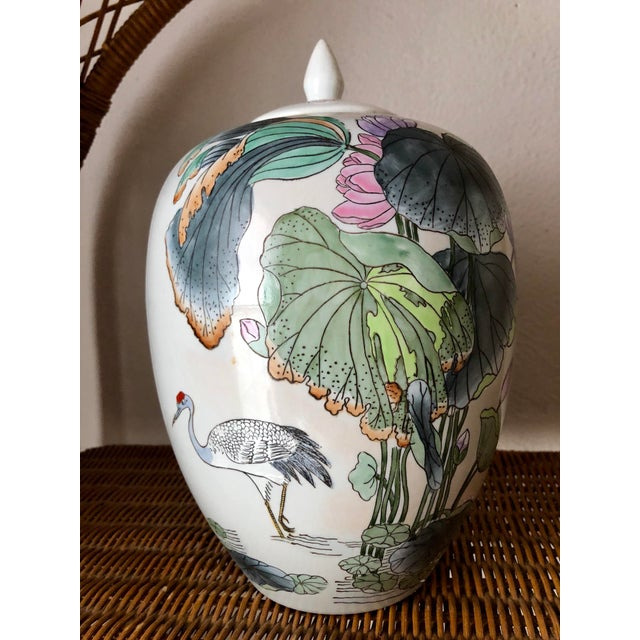 Ginger Jar With Water Lillies & Cranes For Sale - Image 13 of 13