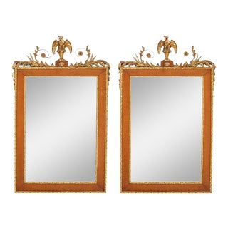 Burlwood Framed / Top Details Hanging Wall Mirror - a Pair For Sale