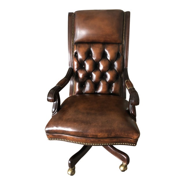 Tufted Swivel Leather and Wood Desk Chair For Sale