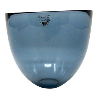 1960s Orrefors of Sweden Pastillo Glass Bowl in Gray Blue For Sale