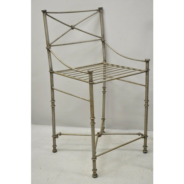 Late 20th C Pier 1 Medici Pewter Wrought Iron Counter Bar Stools - Set of 3 For Sale - Image 4 of 11