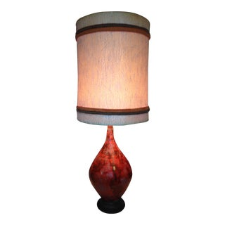 Mid-Century Modern Orange Red Royal Haeger Table Lamp