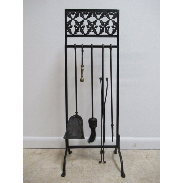 Vintage Wrought Iron Acorn Fireplace Tool Holder Set - Image 2 of 11