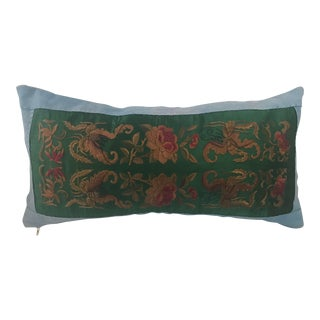 Jade Silk Asian Embroidered Floral Butterfly Pillow For Sale