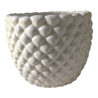 Pineapple Patterned White Planter For Sale