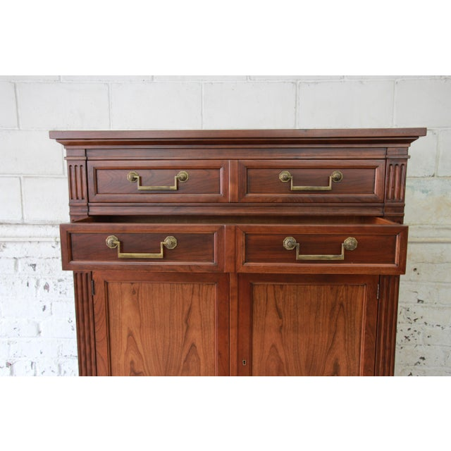 Brass Baker Furniture French Regency Style Cherry Wood Armoire Dresser Chest For Sale - Image 7 of 11